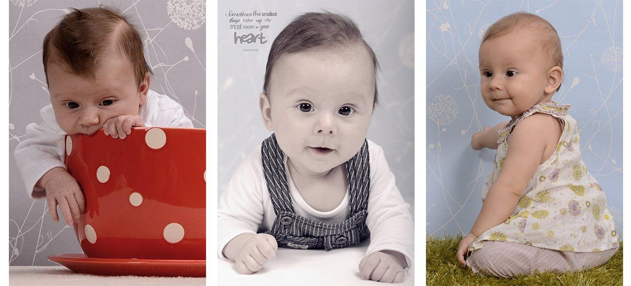 Babyfotografie, Babyfotos, Baby beißt in Tasse, Baby liegt, Baby sitzt und zeigt auf den Himmel
