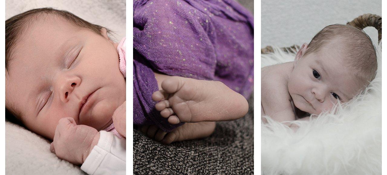 Neugeborenenfotografie, Neugeborenes, Füße, Neugeborenes im Körbchen