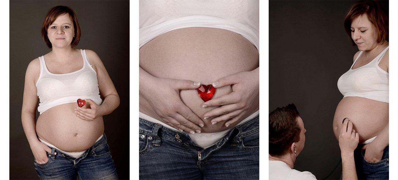 Babybauchfotografie, Babybauch mit Herz