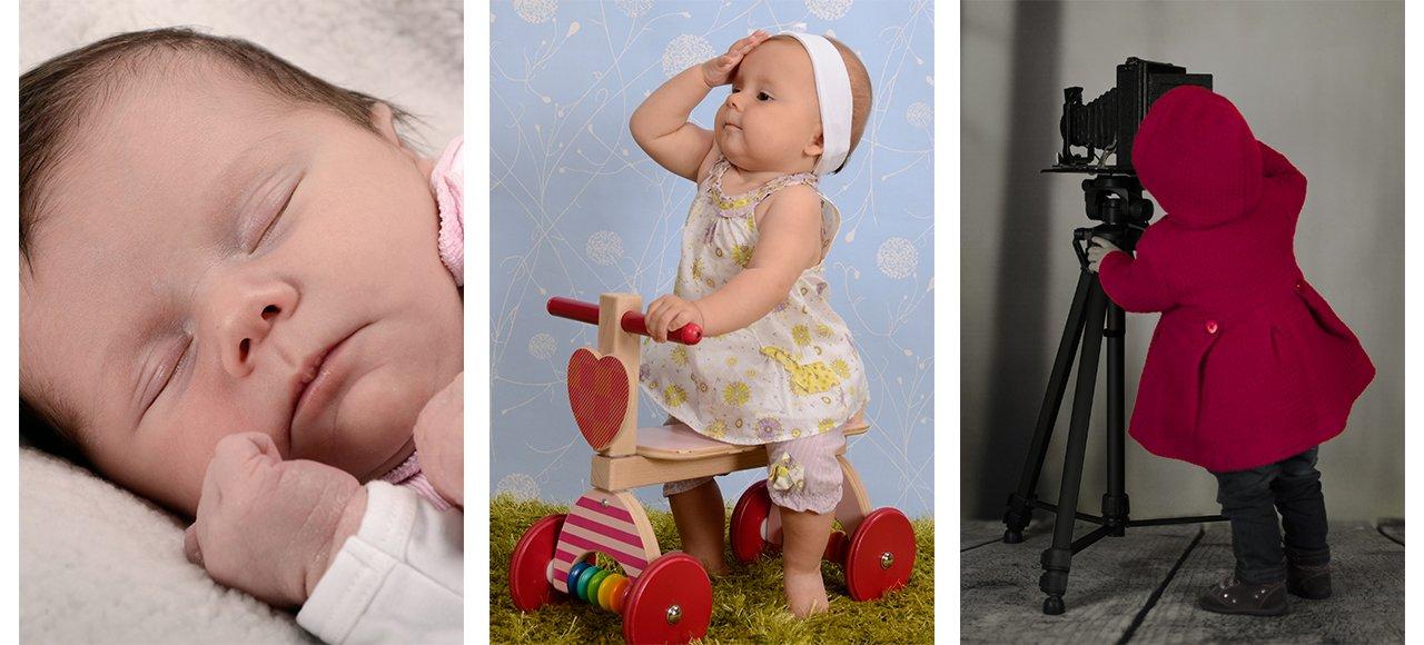 see me grow, Neugeborenes schläft, Baby sitzt auf Rutscher, Kleinkind fotografiert