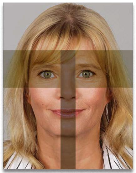 Passfoto Passbild biometrisch Frau mit Schablone